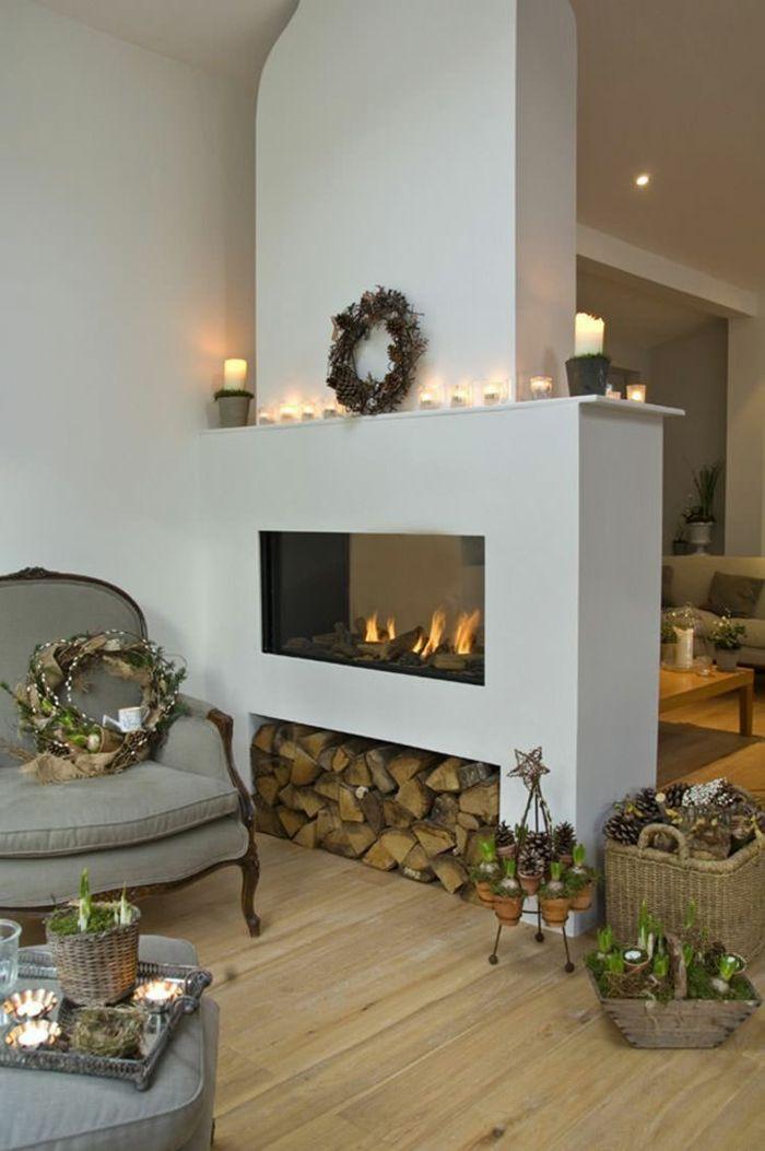 Kamin in Weiß mit Nische zur Holzaufbewahrung-Holzaufbewahrung Brennholzregal Kaminholz Brennholzlagerung zweiseitig verglaster Kaminofen
