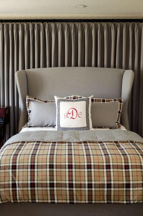 Karierte Bettwäsche in Naturfarben-Karomuster karierte Bettwäsche Wohndesign Luxus üppiges Schlafzimmer