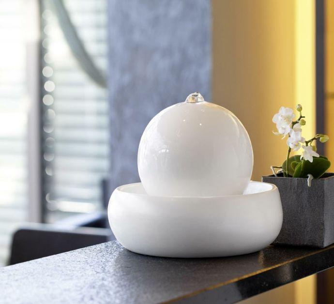 Keramikbrunnen in Weiß-Ideen mit Zimmerbrunnen