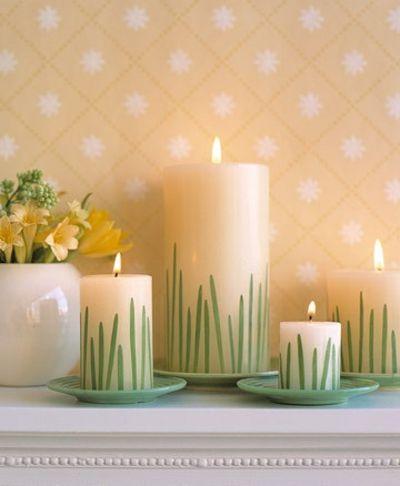 Kerzen mit Gras Motiv-Dekoration Ostern