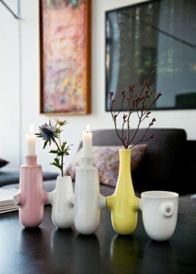 Kerzen oder Vasen Set aus Keramik-Kerzenhalter im modernen Wohndesign