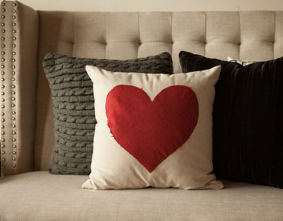 Kissenbezug mit rotem Herz-Valentinstag Interieur Dekor Textilien