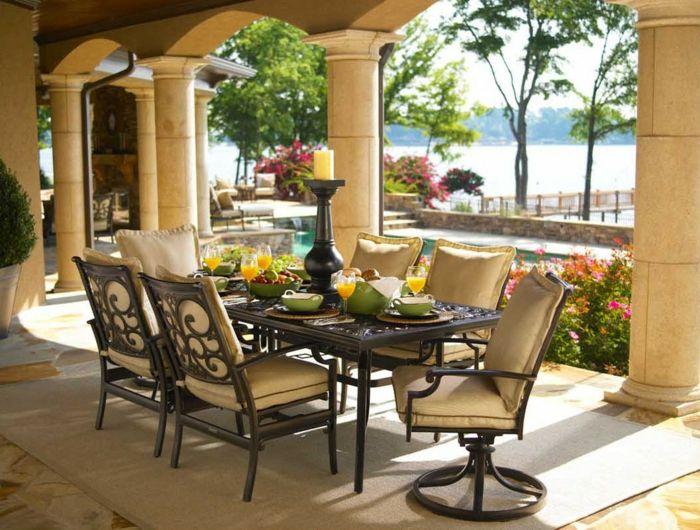 Klassischer Tisch aus Metall-Gartenmöbel aus Metall