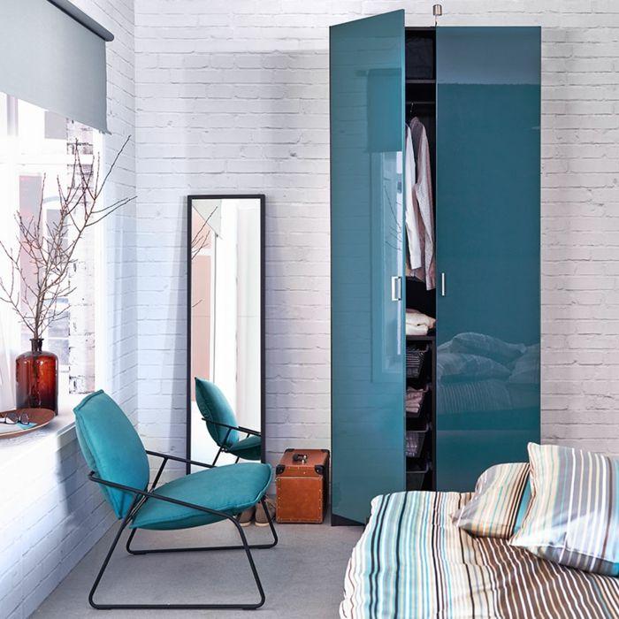 Kleine Garderobe mit zwei Türen in Türkisblau Hochglanz-Hochwertige Kleiderschränke für das Schlafzimmer