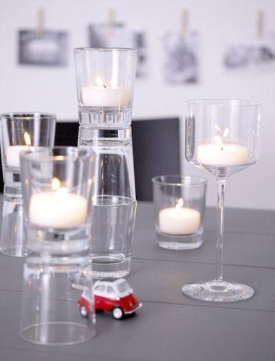 Kleine Kerzenhalter aus Klarglas-Kerzenhalter Tisch Dekoration
