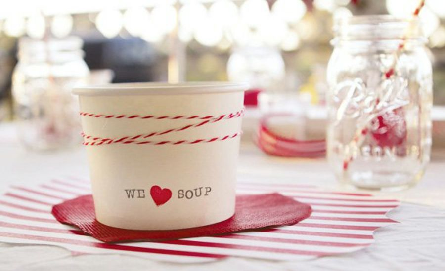 Kleine Pappbecher mit Aufschrift- Fest Becher Rot Weiß