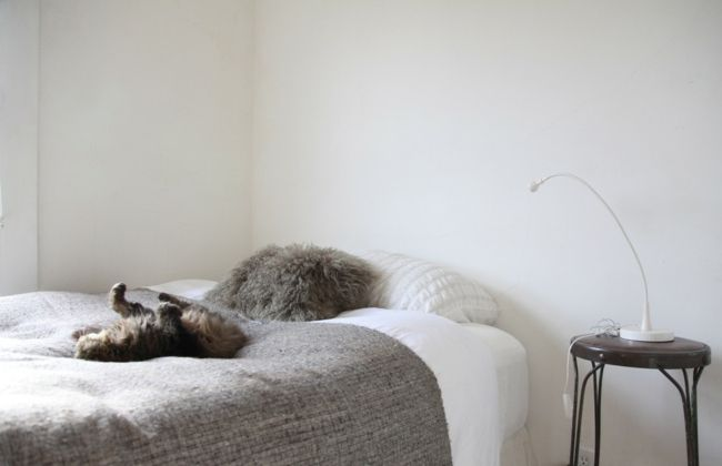 Kleines Schlafzimmer in Weiß und Grau-Eklektische Wohnung Vintage rustikal