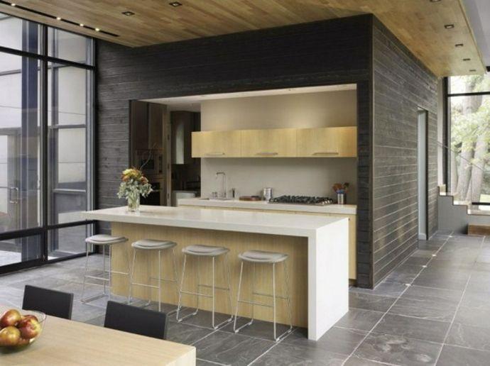 Kochinsel Küchenschränke Holz Glaswände Einbaustrahler Fliesenboden-Modernes Küchendesign
