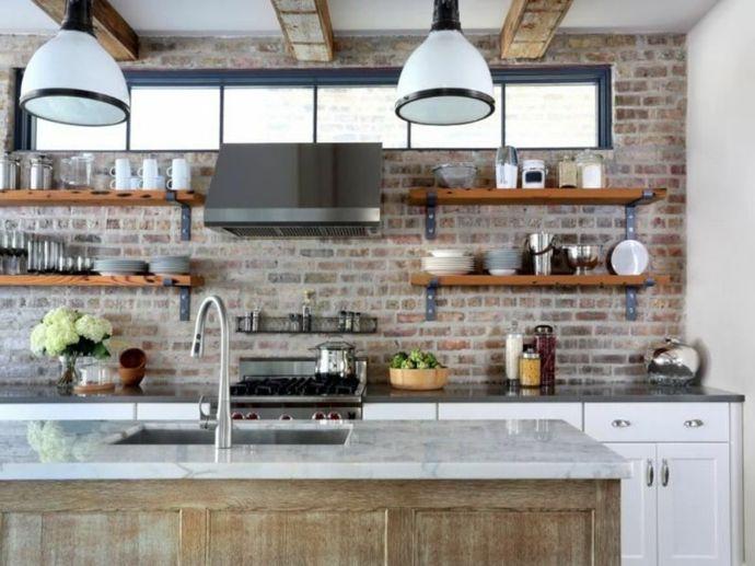 Kochinsel Marmor Holz Industrie Hängeleuchten-Küchen offene Regale