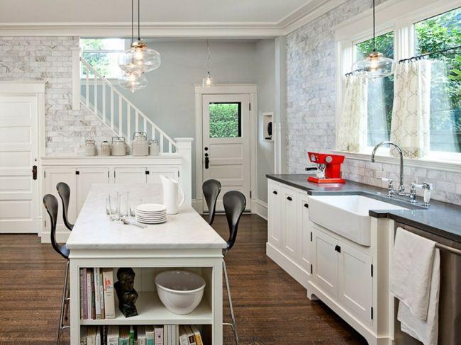 Kochinsel mit aufgesetztem Regal-Küche in Schwarz und Weiß-Sitzecke Küche Ideen