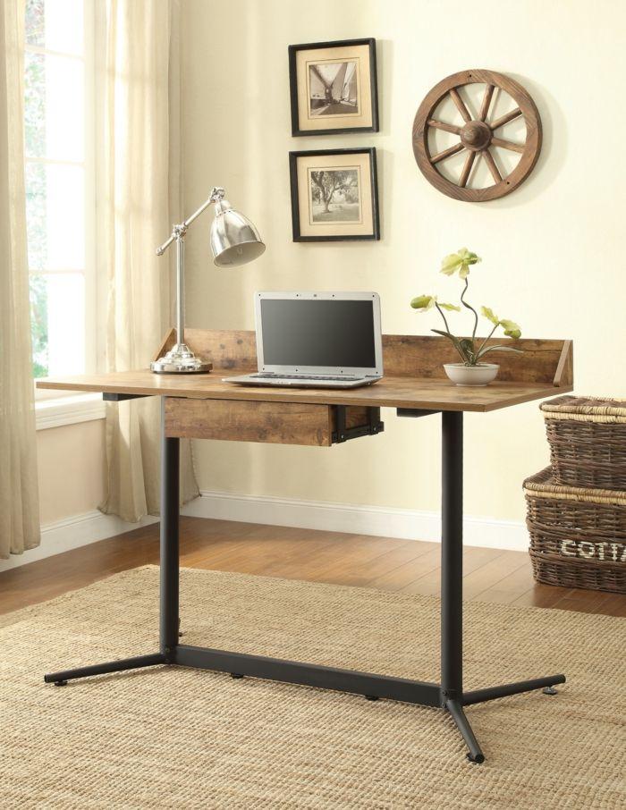 Kompakter Schreibtisch im industriellen Stil-Heimbüro Büromöbel industriell schlicht Vintage Schreibtisch Ideen