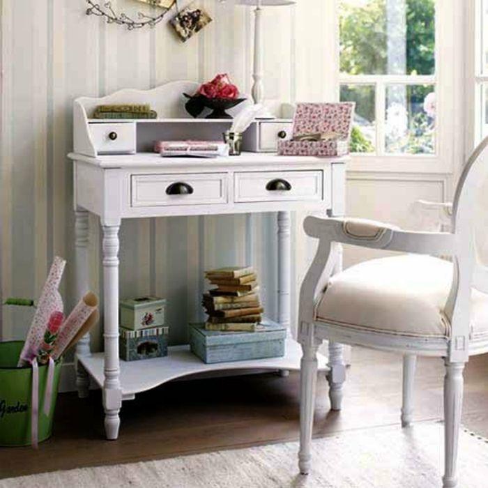 Konsolentisch in Weiß-Innenraumgestaltung in Vintage und Shabby Chic