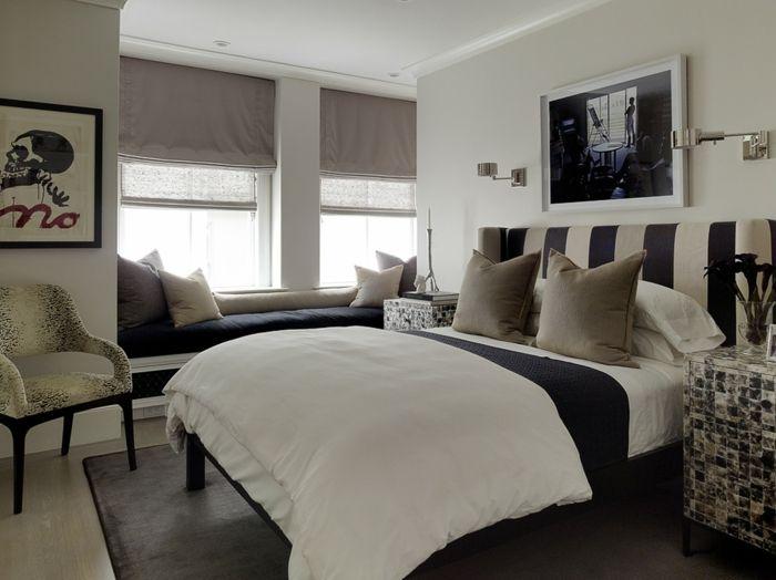Kopfteil in Schwarz und Weiß-Eklektisches Design Schlafzimmer