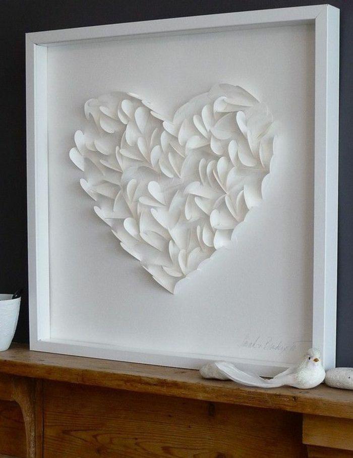 Kreativ DIY Papierherz Weiß-Deko Ideen zum Valentinstag
