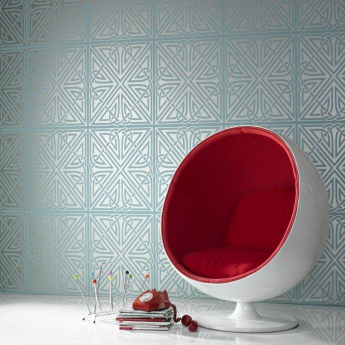 Kugelsessel Rot Tapeten Blau Motiven Zeitschriftenhalter interessant ausgefallen-Vintage Stuhl