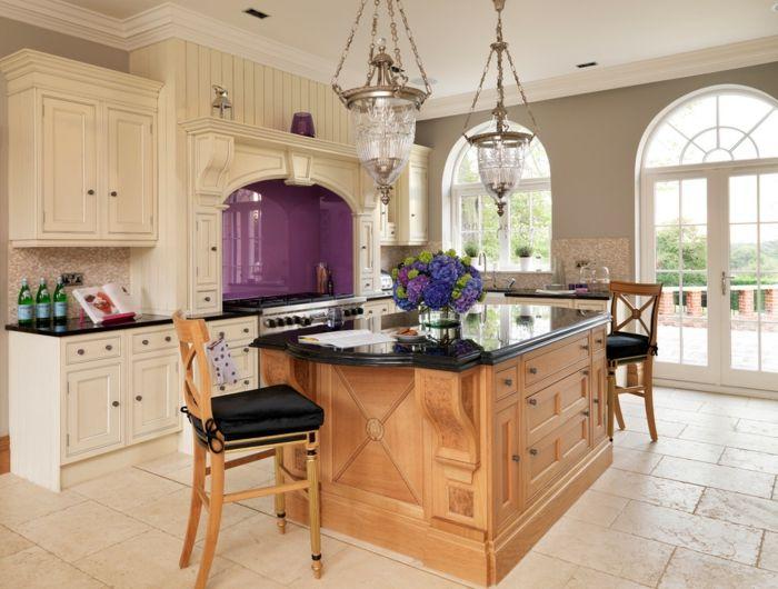 Landhausstil Kücheninsel Holz Kronleuchter-Innenraumgestaltung in Vintage und Shabby Chic