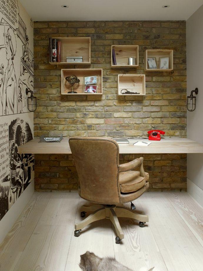 Lederstuhl Büro Arbeitszimmer Wandregal Steinwand Massivholz Arbeitsplatte-Ergonomischer Bürostuhl