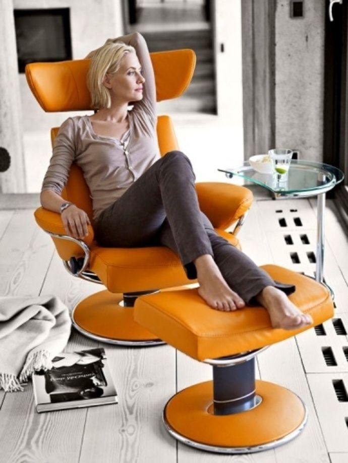 Lederstuhl Orange Fußhocker-Ergonomische Stühle