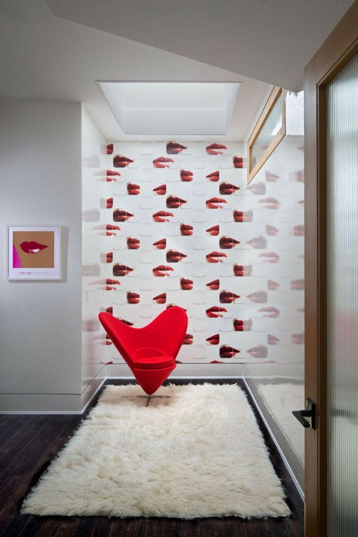 Lippen Fototapete Sessel in Herzform-romantische Einrichtung am Valentinstag
