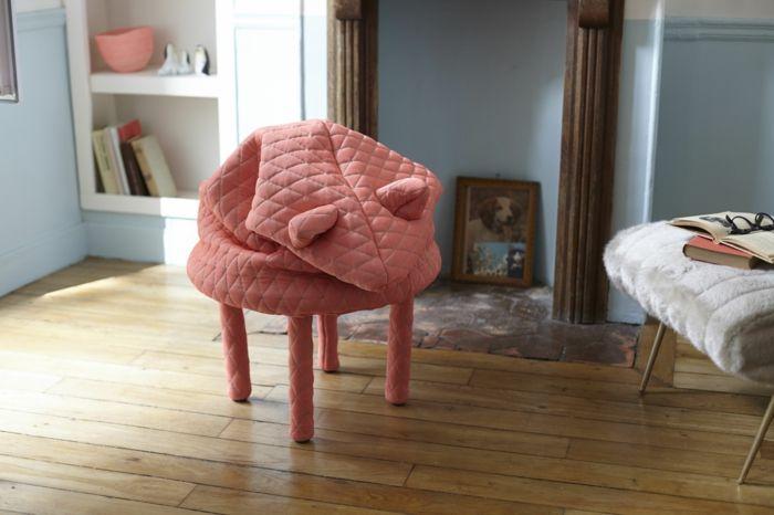 Lustige Wohnaccessoire mit integriertem Fußwärmer fürs Wohn-Fußhocker Sitzfläche innovative Designer Möbel