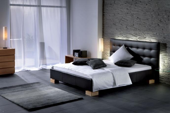 Luxuriös Designer Lederbett-Schlafzimmermöbel