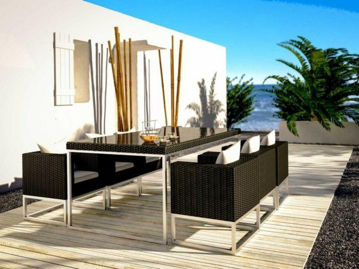 Luxuriöse Einrichtung in Schwarz-Gartenmöbel Sets