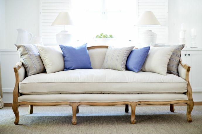 Luxury Cabriole Sofa mit Deko Kissen in Weiß und Lila-Sofa Design