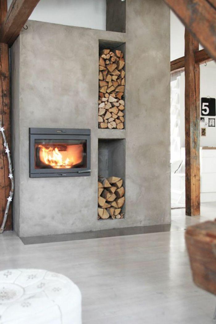 Maßgefertigter Kaminofen in Betonwand-Holzaufbewahrung Brennholzregal Kaminholz Brennholzlagerung Betonwand Ideen