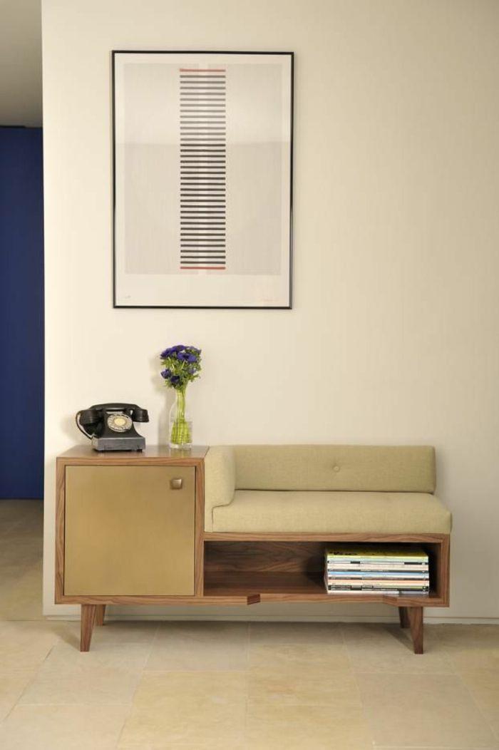 Mid Century Holz Sitzbank Aufbewahrung-Dielenmöbel