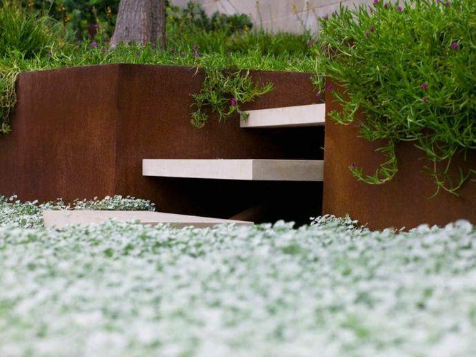 Minimalistisches Design im Garten-Landschaft im minimalistischen Stil
