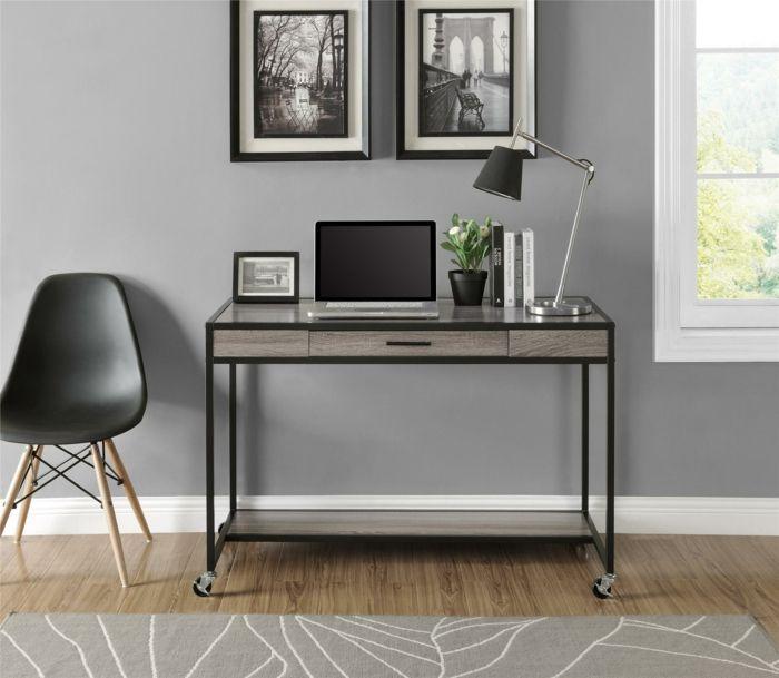 Minimalistisches zeitgenössisches Design-Büromöbel auf Rollen modern Büroarbeitsplatz minimalistischer Schreibtisch in Schwarz schöne Dekoration Ideen