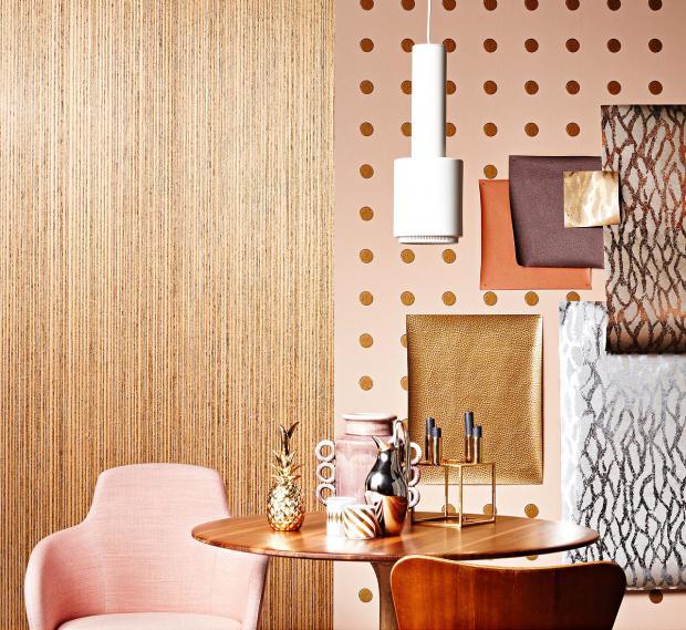 Mit diesen Tapeten ist es möglich, die Wand mit Ihren Lieblingsfarben zu gestalten-Optik Gold Metall Leder Look Tapetenmuster Wohnzimmer