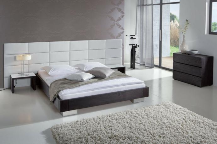 Modern Holz Metall Kopfteil Weiß hoher Flor Teppich-Schlafzimmermöbel