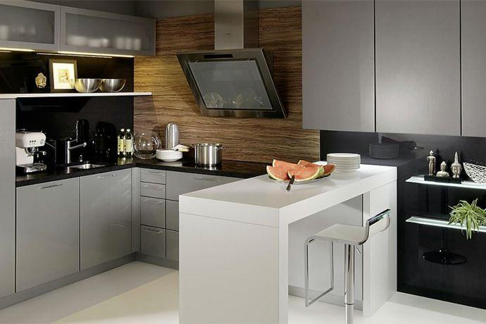 Modern Metall Silber Schwarz Weiß Barhocker-Küchen mit Kochinsel
