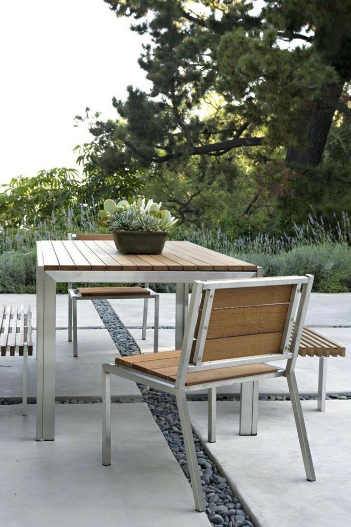 Moderne Gestaltung aus Holz und Metall-Gartenmöbel aus Metall