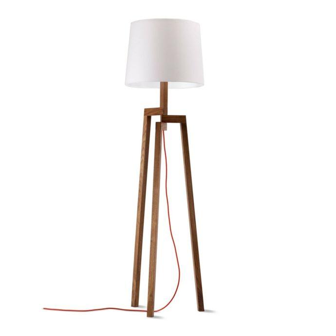 Moderne Stehlampe aus Holz mit weißem Lampenschirm-Stehlampen und Stehleuchten