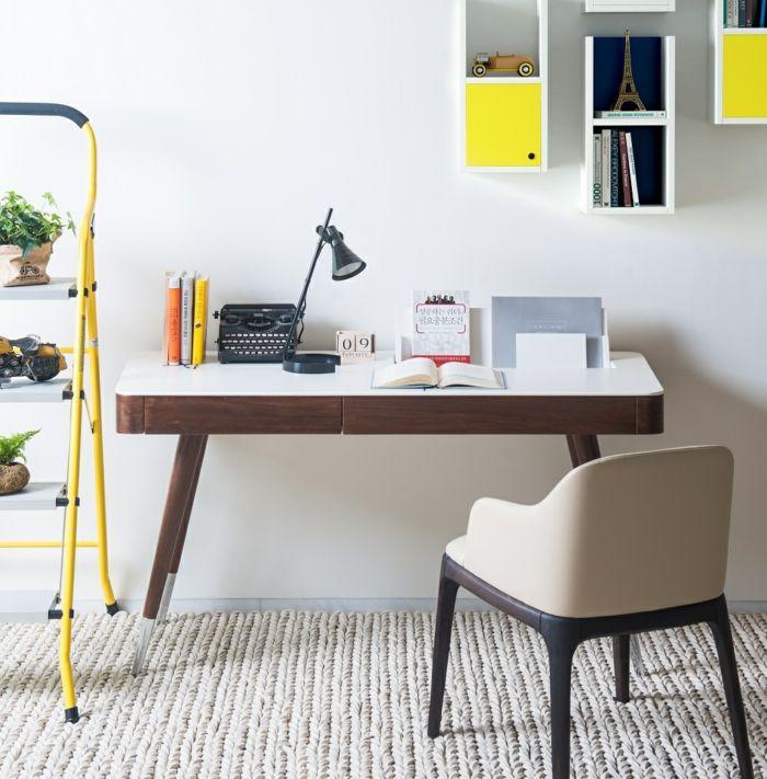 Moderner Arbeitstisch aus Holz-Büromöbel ausziehbar modern Luxus Designer Büroarbeitsplatz Schreibtisch schöne Dekoration Ideen