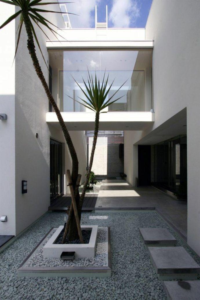 Moderner Minimalistischer Garten Im Luxus Haus Landschaft Im  Minimalistischen Stil
