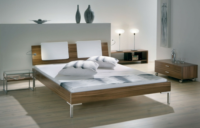 Modernes Design Holzbett Kopfteil Metall Fuß-Schlafzimmermöbel
