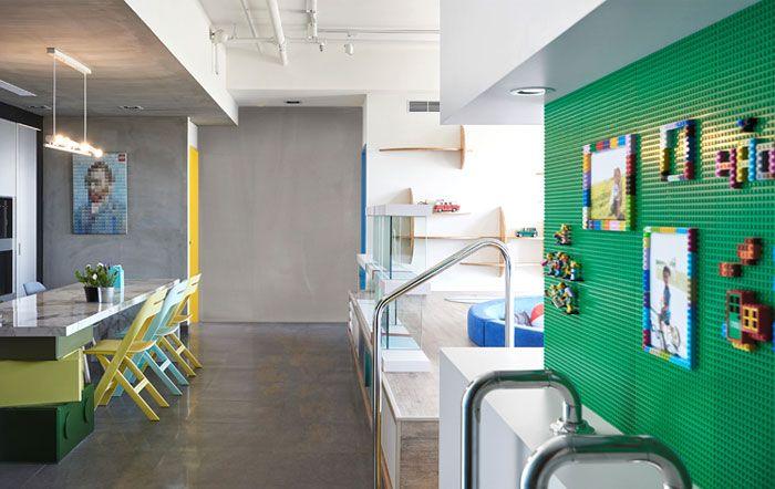 Nahtloser Übergang zwischen Küche und Wohnzimmer-Designer Wohnung Lego-Optik verspielt einzigartig Einrichtung