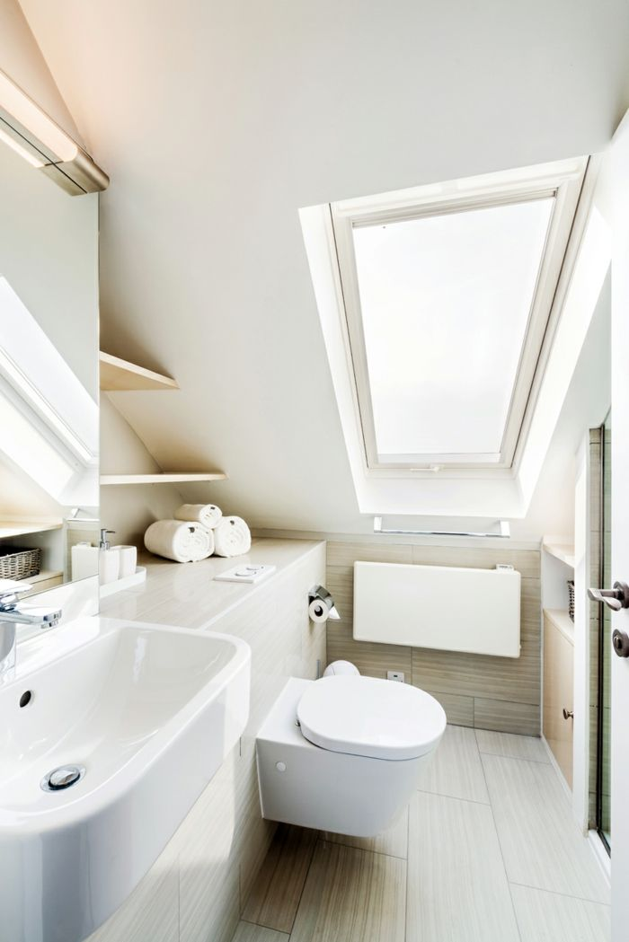 Optimale Raumnutzung unter Dachschräge-Altbau Renovierung Ziegelbau Zementfliesen ländlich rustikal Dachschräge