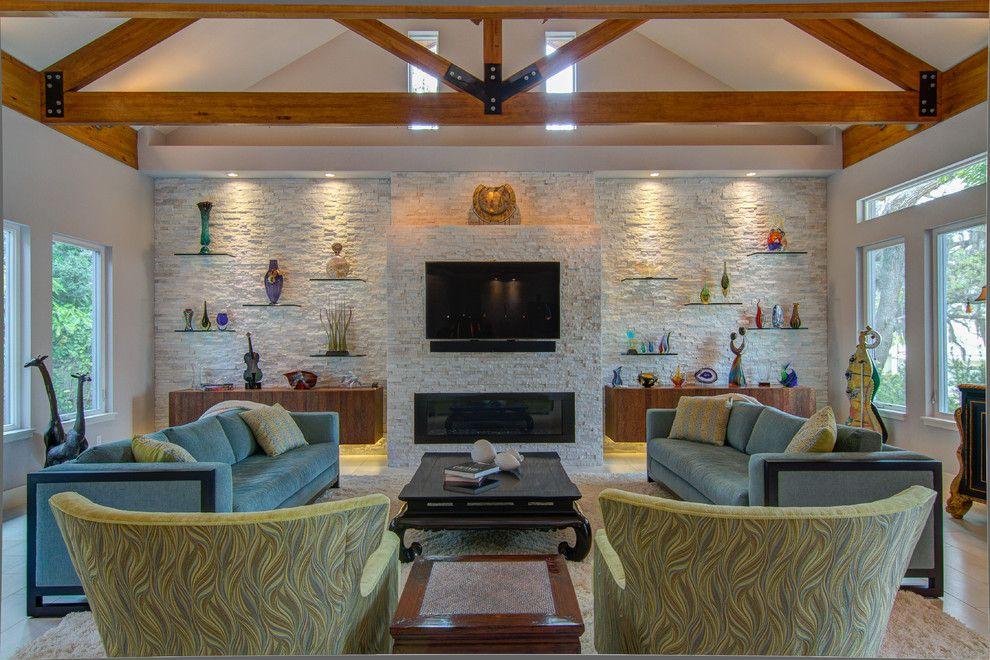 Optische Aufteilung des geräumigen Zimmers-Steinoptik Steinwand Innendesign Wohnzimmer Ferienhaus Einbaustrahler LED-Beleuchtung