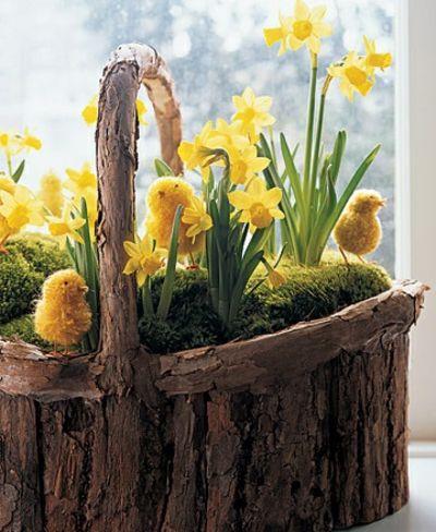 Osterblumen und Küken im Korb-Dekoration Ostern