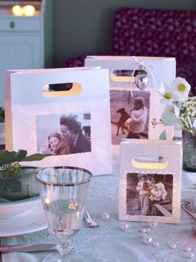 Papiertüten mit Windlichtgläsern als tolle Tischdeko-Schnelle und leichte selbstgemachte Geschenkideen DIY