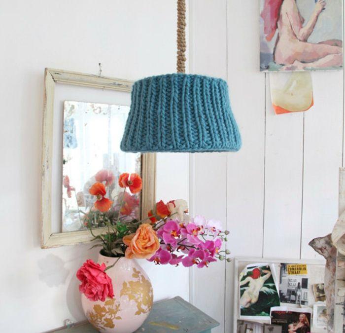 Pendelleuchte farbenfroh Shabby Chic-Gestrickter Lampenschirm