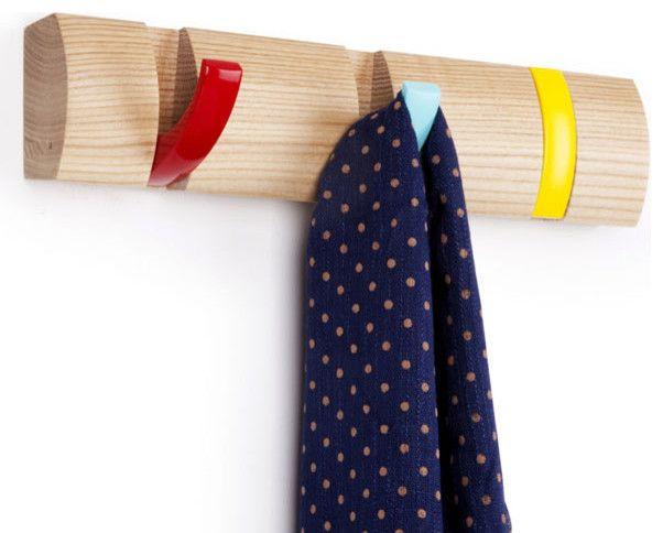 Platzsparende klappbare Garderobenleiste aus Holz-Aufbewahrung Kleiderleiste Metallhaken Organisation platzsparend