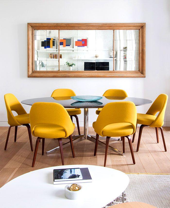 Modernes interieur design mit edlem bohemian touch - Wandspiegel mit holzrahmen ...