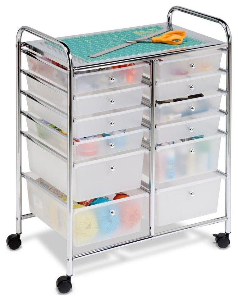 Rollwagen mit Schubladen für praktische Organisation des Bastellbedarfs-Bastellbedarf Organisation Aufbewahrung Rollwagen Schubladen