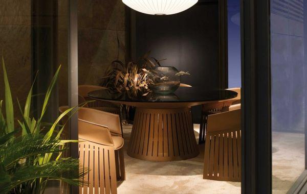 Runder Tisch aus Bambus im kleinen Esszimmer-Bambus Dekoration