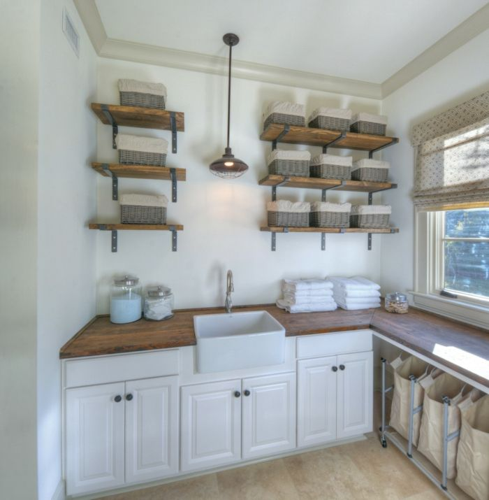 Rustikal Holz Waschküche Waschsack Wandregale Aufbewahrungskorb Pendelleuchte-Aufbewahrung
